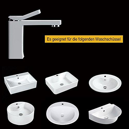 Homelody – Design-Waschbeckenarmatur, Einhebelmischer, ohne Ablaufgarnitur, Weiß - 3