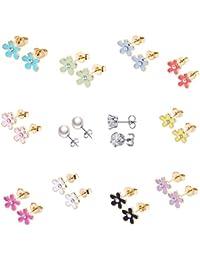 10paires plaqué or 18K mignon petits simple Post boucles d'oreille Kit pour fille Enfants Mix et Match (Fleurs de 10couleurs)