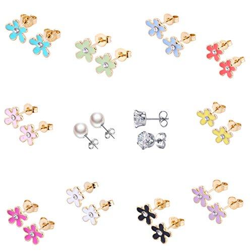10paires plaqué or 18K mignon petits simple Post boucles d'oreille Kit pour fille Enfants Mix et Match (Fleurs de 10couleurs) HYZ
