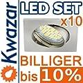10er Set K-4 Einbaustrahler 24p Smd Led Warmweiss Inkl Gu10 230v Fassung - Nickel Matt Innox von Kwazar