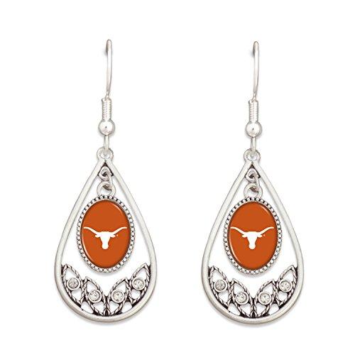 Sorority Kostüm - Sports Team Accessories Texas Longhorns Logo Silber Ton Tropfen Hoop Ohrringe mit Strass Klar