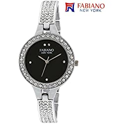 Fabiano New York Silver And Black Analog Womens & Girls Wrist Watch