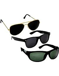 Man sunglasses new style Combo Set of 3 UV Protect Sports Sunglasses, Avaitors Sunglasses & Wayfarers Unisex sunglasses & goggles for Men/Women with three Boxes (Golden Black | Black Wayfarer | Green Wrap)