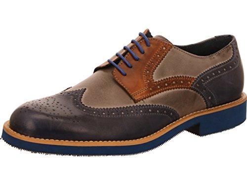 nicolabenson  1666b Blu/Grigio/Cuoio, Chaussures de ville à lacets pour homme blu/grigio/cuoio