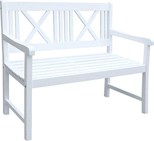 Benelando 2-Sitzer Gartenbank in weiß aus Eukalyptusholz