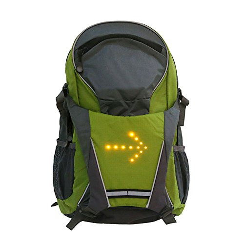Lennonsi 18L Sac à dos de vélo avec affichage de sécurité LED, télécommande sans fil, clignotant, vert