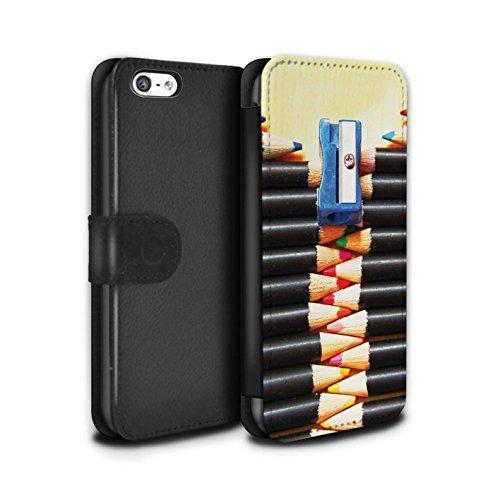 Stuff4 Coque/Etui/Housse Cuir PU Case/Cover pour Apple iPhone 5C / Tunnel Amour Design / Art Abstrait Collection Crayons/Zip