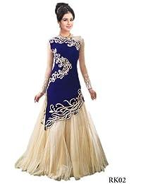 Mordenfab Blue Suits For Women Indo-Western For Party Wedding Wear Floor Length Gown/ Anarkali Suit/ Salwar Suit