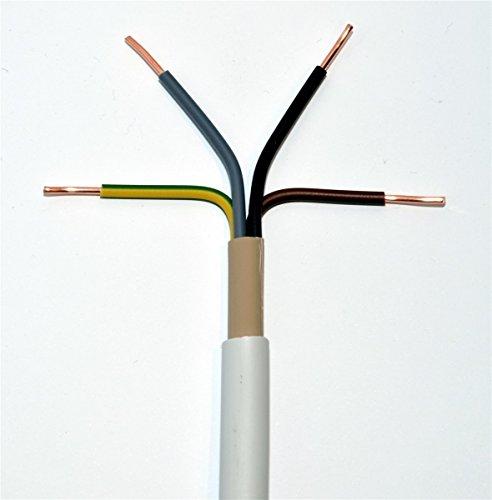 Preisvergleich Produktbild METERWARE NYM-J 4x1,5 mm² RE Mantelleitung grau 4x1,5 qmm Installationsleitung Feuchtraumleitung, jede Menge eine Länge