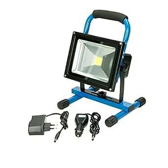ECD Germany LED-Baustrahler Akku-Baustrahler Strahler Fluter Lampe Arbeitsleuchte 20W Kaltweiß Blau
