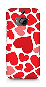 Amez designer printed 3d premium high quality back case cover for HTC One M9+ (Valentines Day Special hearts)