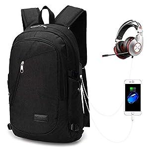 418L%2BGPSAuL. SS300  - Mochila para Portátiles, Computadora Backpack para Trabajo, Diario, Ocio, Universitario, con Puerto De Carga USB (Gris)