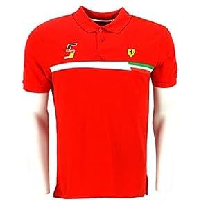 Ferrari F1 Racing Vettel 5 Scudetto Polo Shirt rouge officiel Neuf