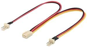 Wentronic 93880 Internes Lüfter-Stromkabel (2x 3pin stecker 3pin buchse) schwarz