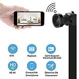 WiFi Caméra Espion Caméscope HD 4K Cachée Mini Caméra sans Fil Caméra de Surveillance Intérieure Vision Nocturne/ Détection de Mouvement IP Caméra de Sécurité Portable pour iPhone Android