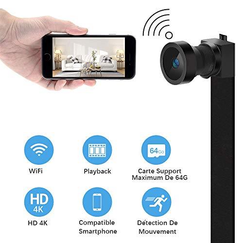 WiFi Caméra Espion Caméscope HD 4K Cachée Mini Caméra sans Fil Caméra de Surveillance Intérieure Détection de Mouvement IP Caméra de Sécurité Portable pour iPhone Android