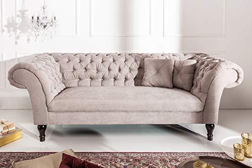 Riess Ambiente Chesterfield Sofa Contessa Baumwolle Greige mit 2 Kissen 2er Couch Zweisitzer Barock Englisch