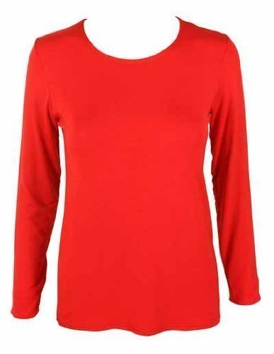 New Ladies Plain Stretch Fit Long Sleeve Womens T-Shirt Round Neck Basic Top Red Size 12 - 14