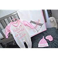 Personalised Hello World I'm Name Contrast Baby Set Romper Hat Mitts Blanket New Baby Gifts Newborn baby Gifts Personalised Babywear Hospital Outfit