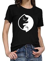DressLksnf Maglietta Donna Cuore Modello a Maniche Corte Estive Ragazza Shirt Divertenti Estate Camicetta Stampato Sciolto Casual T-Shirt Tops