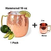 Prisha India Craft ® Moscow Mule in rame solido Mug 550 ML / 18 oz - 100% in puro rame martellato Qualità migliore finitura laccata, Moscow Mule Cocktail Cup, rame tazze, tazze da cocktail