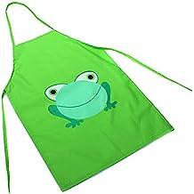 Tankerstreet Delantales Impermeable de Niños, Delantales de PVC Animados de la Rana Impreso para Ninos Pintura/ Cocina, Niños Edad 2–6 (Verde)