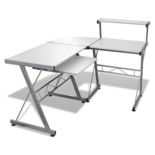 vidaXL Computertisch Schreibtisch Arbeitstisch Ecktisch PC Tisch Büro weiß 20059