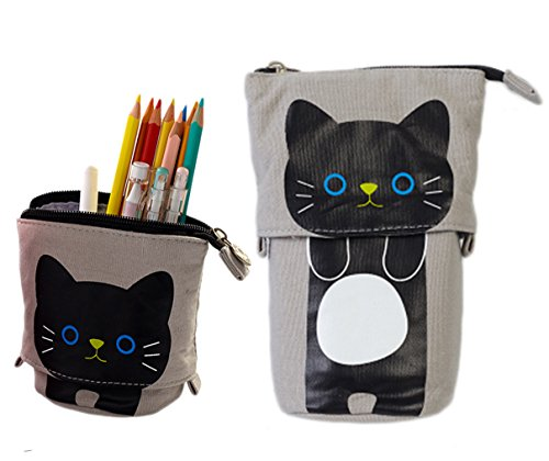 iSuperb support Trousse Transformer sur toile Stylo support de sac étui Funny Cute Make Up Sac 19 x 12.5 x 7.5 cm (gris)
