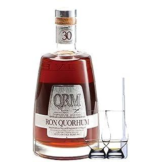 Ron Quorhum QRM 30 Jahre Dominikanische Republik 0,7 Liter + 2 Glencairn Gläser + Einwegpipette 1 Stück