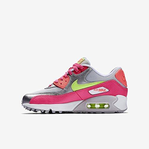 Nike Air Max 90 Mesh (Gs) Scarpe da ginnastica, Bambine e ragazze - Rosa-Silber-Weiß