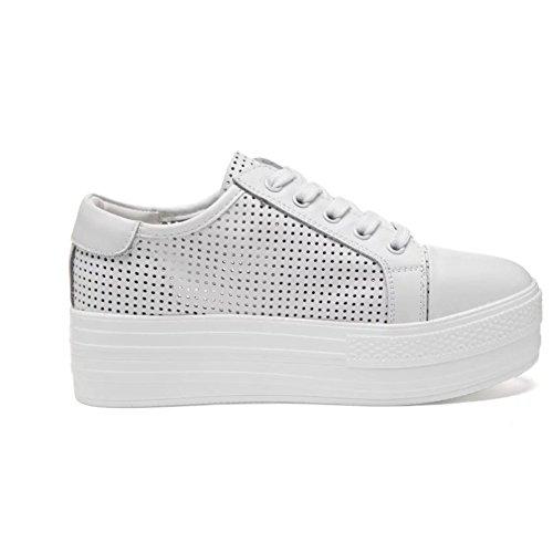 Shenn Donna Comodo Traspirante Cuneo Pelle Formatori Sneaker Scarpe 5200 Bianca