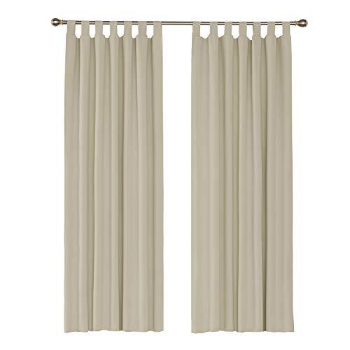 Umi. by Amazon - 2 Stück Gardinen Verdunkelungsvorhang mit Schlaufen 245x140 cm Beige