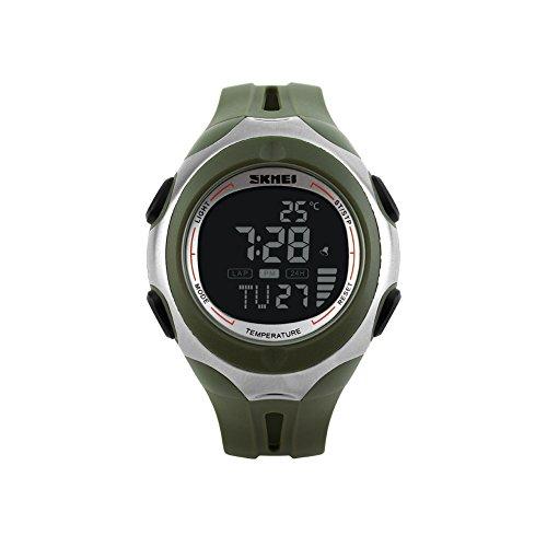 iLove EU Herren Armbanduhr 50m Wasserdicht Digital LED Alarm Datum Uhr Sportuhr mit Schwarz Zifferblatt und Armee Grün Silikon Band