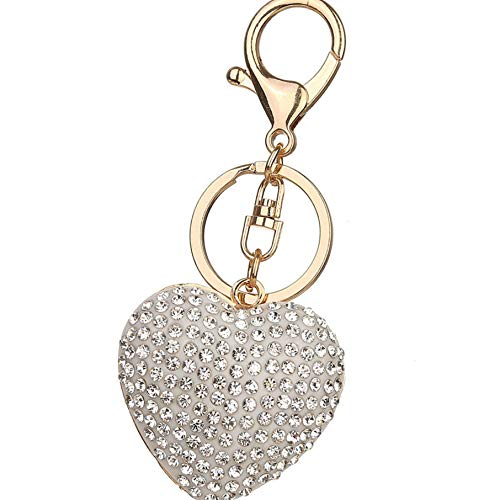 Jinzuke Liebes-Herz-Pendent Keyring Hummer-Haken-Schlüsselanhänger aus Metall Auto Beutel-Geldbeutel-Dekoration Schlüsselanhänger - White Heart Handtasche