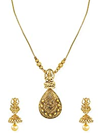 Zaveri Pearls Antique Gold Tone Goddess Temple Necklace Set For Women-ZPFK6744