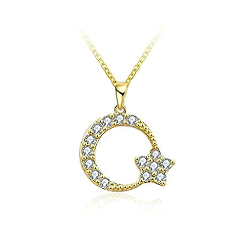 Bishilin Gold Plated Womens Pendant Necklace Bling Moon Star Pendant Cubic Zirconia Gold Necklace