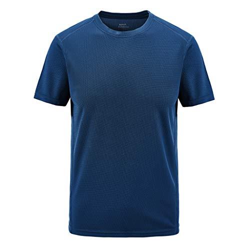 EUZeo Herren Minimalistisch Einfarbig T-Shirt Shaped Long Tee Rundhals Oversize Shirt Casual Sportlich Schnelltrocknend Outdoor Sweatshirts Kurzärmelig Rundausschnitt Unterhemd ()