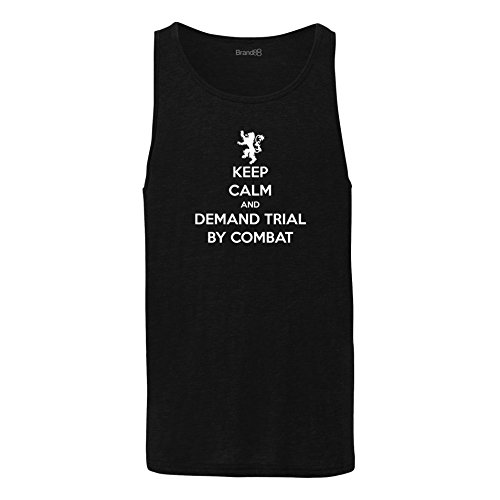 Brand88 - Keep Calm and Demand Trial By Combat , Unisex Jersey Weste Schwarz