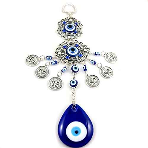 XJoel Anhänger Charm Lucky Evil Auge Blau Glas Amulett Wand Auto hängen Silber Fatima