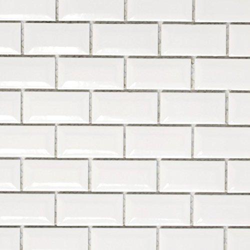 Mini Metro Subway Mosaik Fliese Keramik weiß Brick Bond Diamond für BODEN WAND BAD WC DUSCHE KÜCHE FLIESENSPIEGEL THEKENVERKLEIDUNG BADEWANNENVERKLEIDUNG WB26-0102