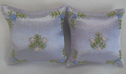 Hand genähte Puppen-Haus-blasse flieder Kissen-Blumen-Entwurf 1: 12 Skala lila u