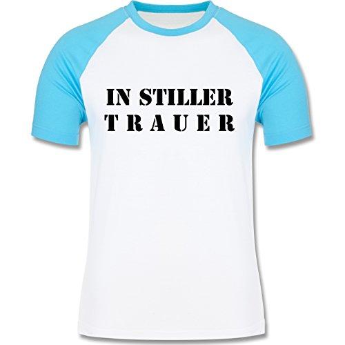 JGA Junggesellenabschied - In stiller Trauer - zweifarbiges Baseballshirt für Männer Weiß/Türkis