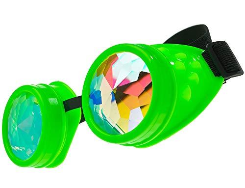 MFAZ Morefaz Ltd Schutzbrille Schweißen Sonnenbrille Welding Cyber LED Goggles Steampunk Goth Round Cosplay Brille Party Fancy Dress (Kaleidoscope Green)