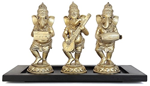 TiedRibbons® Ganesha Playing Dholak, Harmonium , Sitar Musical Instruments Idol Statues Set of 3 with Wooden Base  available at amazon for Rs.1299