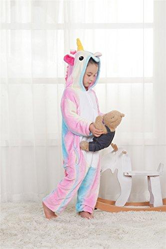 colourf ulw ORLD Licorne Pyjamas d'un Animal Costumes Pyjama Polaire Animaux Unicorn de Costumes Cosplay Costume pour Enfants/Adultes, style1, 125-134cm
