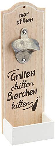 GILDE 1 x Wand-Flaschenöffner Metallöffner Kronkorkensammler Grillen, Chillen, Bierchen Killen Höhe 30 cm, Wanddeko, Wandobjekt (braun (Stückpreis), Holz