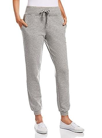 oodji Ultra Damen Jersey-Hose im Sport-Stil, Grau, DE 38 / EU 40 / M (Damen Jogginghosen)