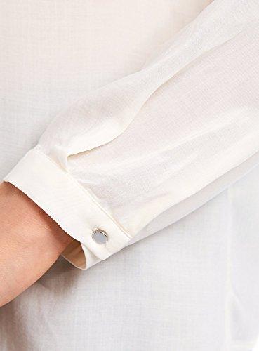 oodji Ultra Femme Blouse en Viscose avec Poches Décoratives Blanc (1200N)