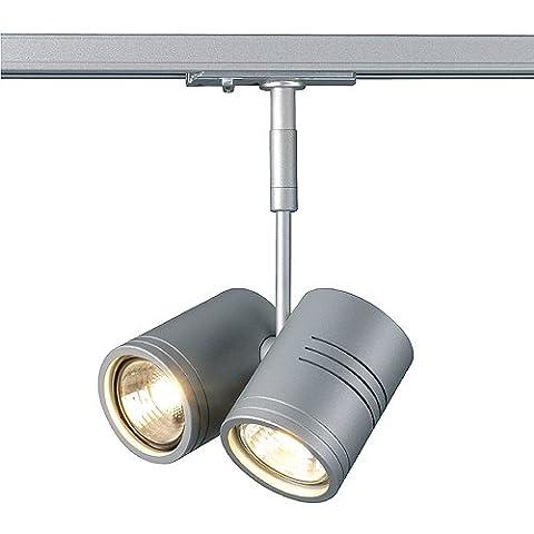 SLV 143432 BIMA II lamp head, silvergrey, GU10, 2x50W max., incl. 1P.-adapter