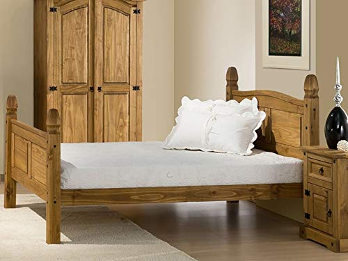 Snuggle Beds Corona Mexican High Foot End Solid Pine Wood Slatted Bed Frame 4FT